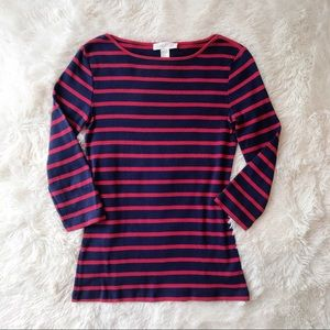 Forever 21 navy and red striped boatneck T shirt